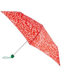 Accessorize Pink And Orange Lightweight Animal Print Colourful Umbrella - Red