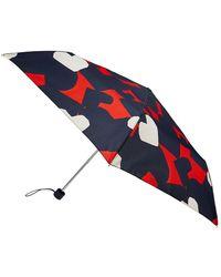 Accessorize Women's Black, Red And White Lightweight Heart Print Nautical Hearts Umbrella - Blue