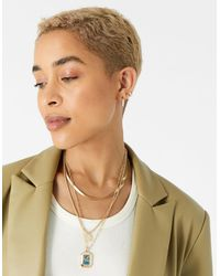 Accessorize Midnight Sky Rectangle Coin Pendant Necklace - Metallic