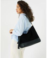 Accessorize Women's Black Luxurious Leather Slouch Shoulder Bag, Size: 30x38cm