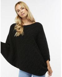 Accessorize Wool Blend Cable Knit Asymmetric Poncho - Black