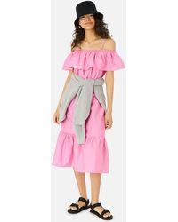 Accessorize Women's Pink Cotton Bardot Poplin Maxi Dress, Size: Xl
