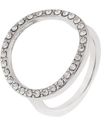 Accessorize - Open Circle Ring With Swarovski® Crystals - Lyst