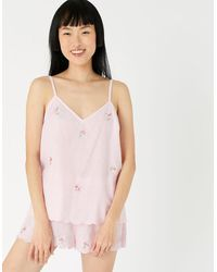 Accessorize Women's Pink And White Floral Print Cotton Evelyn Stripe Pyjama Set, Size: Xs