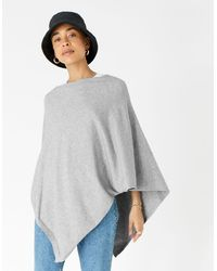 Accessorize Lightweight Knit Poncho Grey