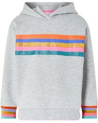 Accessorize Glittery Rainbow Striped Hoodie Grey