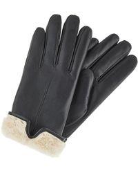 Accessorize Faux Fur Trim Leather Gloves Black