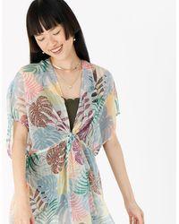 Accessorize Women's Pink, Blue And Green Lightweight Palm Print Chiffon Kaftan, Size: S - Multicolour