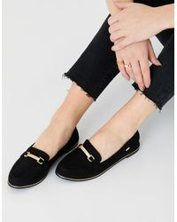 Accessorize Black Stylish Suede Metal Bar Loafers, Size: 36