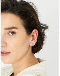 Accessorize Sterling Silver Medium Crystal Stud Earrings - White