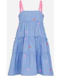 Accessorize Floral Embroidered Chambray Dress Blue