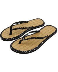 Accessorize Plaited Spot Seagrass Flip Flops Black