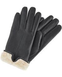 Accessorize Faux Fur Leather Gloves - Black