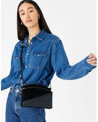Accessorize Darcey Leather Double Zip Cross-body Bag Black