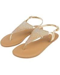 Accessorize Tahiti Beaded Sandals Gold - Metallic