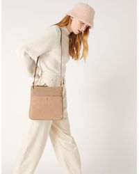 Accessorize - Women's Beige Fully Lined Leather Alessie Zip Messenger Bag, Size: 25x24cm - Lyst