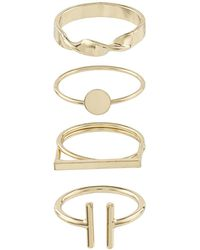 Accessorize - Gold Geo Ring Set - Lyst