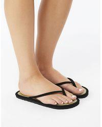 Accessorize Plain Black Seagrass Flip Flops Black