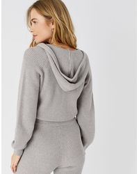 Accessorize Ribbed Knit Lounge Hoody Grey