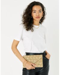 Accessorize Women's Gold Embellished Cotton Tamara Clutch Bag, Size: 15x25cm - Metallic