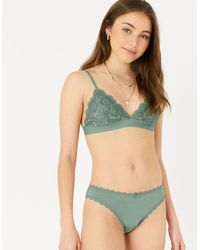 Accessorize Women's White, Khaki Green And Pink Lace Trim Brief Multipack, Size: 12