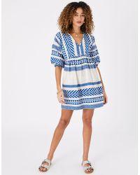 Accessorize Women's Blue And White Cotton Jacquard Dress, Size: M