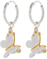 Accessorize - Sterling Silver Bella Butterfly Sleeper Hoop Earrings - Lyst