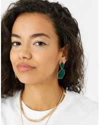 Accessorize Women's Green And Gold Elegant Reconnected Statement Stone Drop Earrings, Size: 5cm