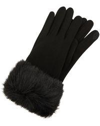 Accessorize Faux Fur Cuff Touch Phone Gloves - Black