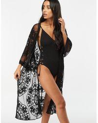 Accessorize Jaki Long Lace Kimono - Black