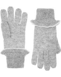 Accessorize Ribbed Frill Gloves - Grey