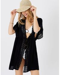 Accessorize Lace Trim Kimono In Lenzingtm Ecoverotm Black