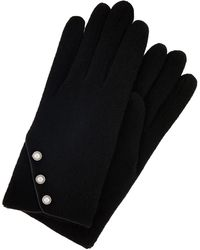 Accessorize Pearl Button Wool Gloves - Black