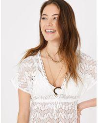Accessorize Floral Lace Kaftan Dress White