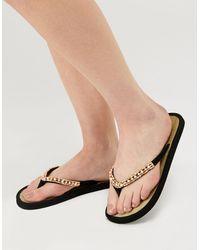 Accessorize Beaded Seagrass Flip-flops Black