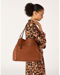 Accessorize Women's Brown Fully Lined Faux Leather Brooklyn Durable Casual Shoulder Bag, Size: 15x35x31cm