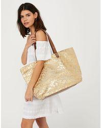 Accessorize Women's Gold Animal Print Cotton Lakshmi Tote Bag With Top Handles, Size: 38x54cm - Multicolour