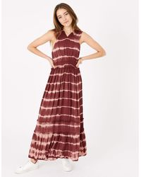 Accessorize Women's Brown And Pink Tie Dye Print Maxi Dress, Size: L - Red