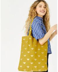 Accessorize Women's Yellow And Gold Cotton Novelty Foil Print Shopper Bag, Size: 44x39cm