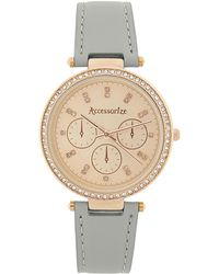 Accessorize Crystal Bling Leather Watch - Gray