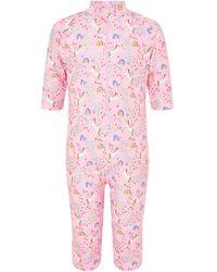 Accessorize Girls Pink, White And Blue Unicorn Print Sunsafe Swimsuit, Size: 5-6 Years