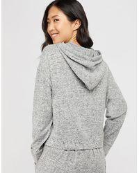 Accessorize Women's Grey Marl Zip Hoody, Size: S