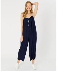 Accessorize Women's Navy Blue Stylish Viscose Relaxed Button Jumpsuit, Size: 16