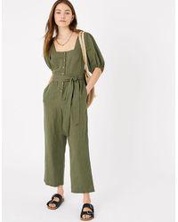 Accessorize Women's Khaki Green Cotton Puff Sleeve Jumpsuit, Size: 8