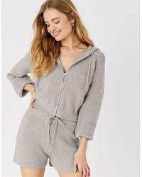 Accessorize Knit Rib Lounge Shorts Grey