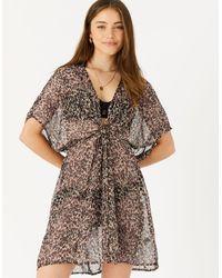 Accessorize Women's Brown And Black Leopard Print Chiffon Kaftan, Size: Xs