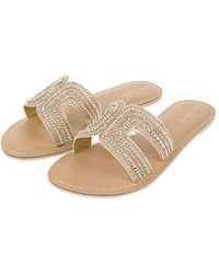 Accessorize Ladies Gold Bella Beaded Sliders, Size: 41 - Metallic