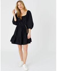 Accessorize Puff Sleeve Dress In Organic Cotton Black