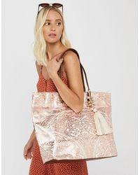 Accessorize Women's Gold And White Metallic Print Cotton Kea Beach Tote Bag, Size: 38x55cm - Multicolour
