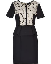 Class Roberto Cavalli Round Collar Crêpe Black Short Dress - Lyst